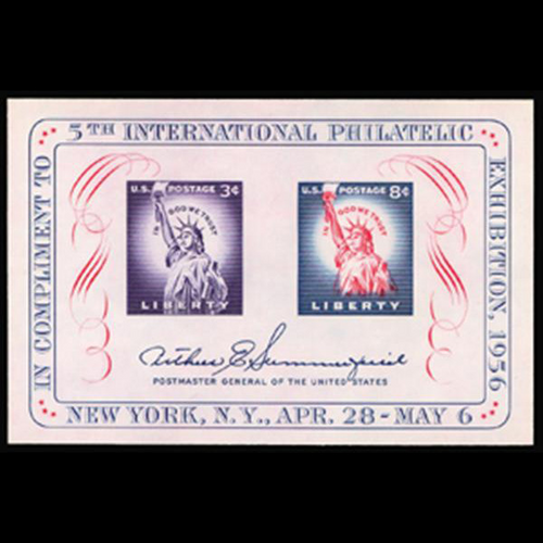 1956 3c & 8c Fipex Mint Sheet of Two