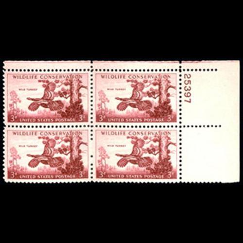 1956 3c Wild Turkey Plate Block