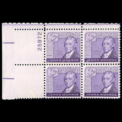 1958 3c James Monroe Plate Block