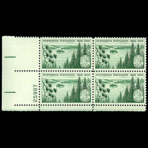 1958 3c Minnesota Statehood Plate Block