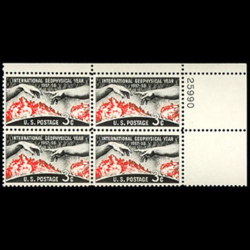 1958 3c Int'l. Geophysical Year Plate Block