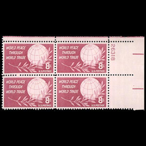 1959 4c World Peace & Trade Plate Block