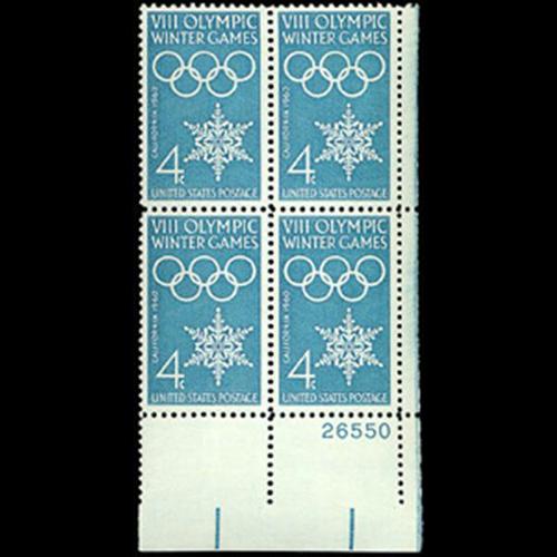 1960 4c Winter Olympics Plate Block