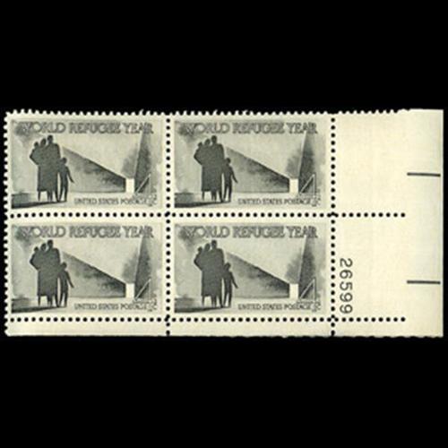 1960 4c World Refugee Year Plate Block