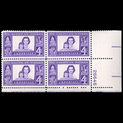 1960 4c American Women Plate Block