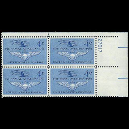 1961 4c Naval Aviation Plate Block