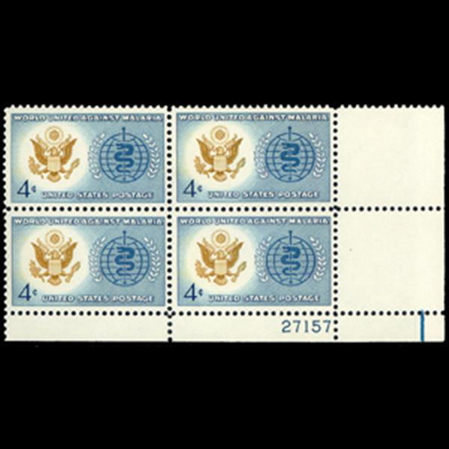 1962 4c Malaria  Eradication Plate Block