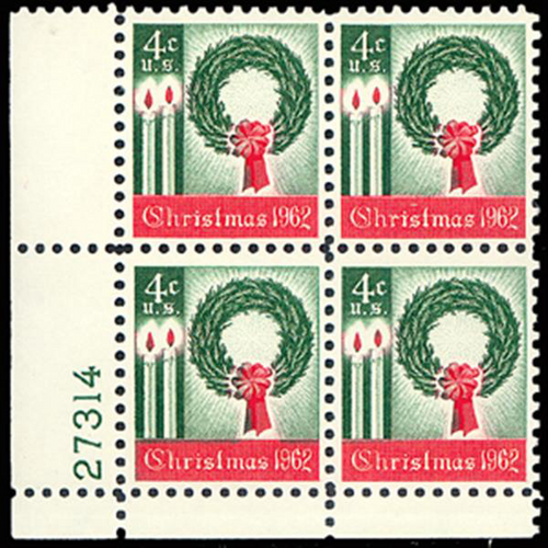1962 4c Christmas Plate Block