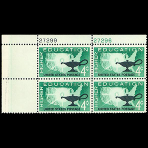 1962 4c Higher Education Plate Block