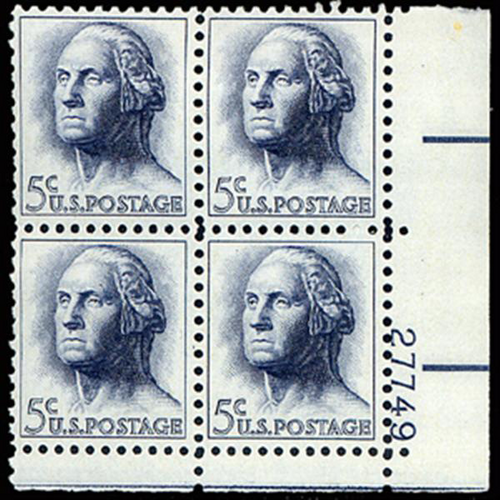 1963 5c Washington Plate Block