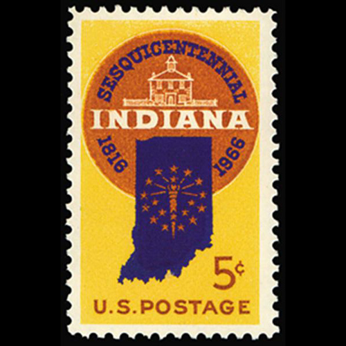 1966 5c Indiana Statehood Mint Single