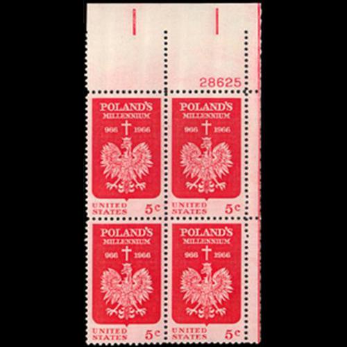 1966 5c Polish Millennium Plate Block