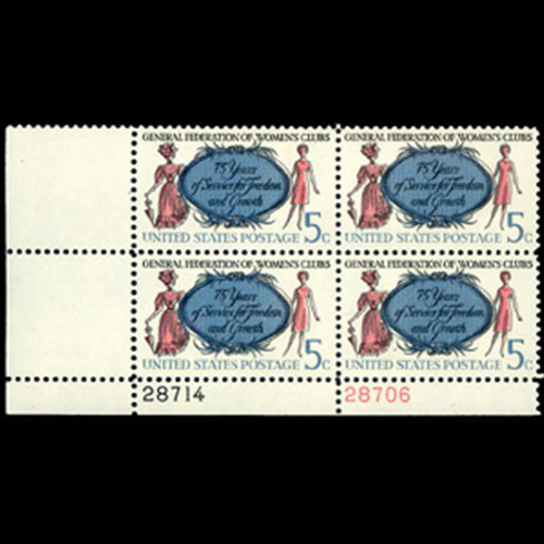 1966 5c Women's Club Plate Block