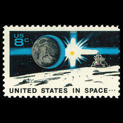 1971 8c Moon, Earth, Sun, & Landing Craft Mint Single