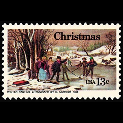 "1976 13c ""Winter Pastime"" Andreati Mint Single"