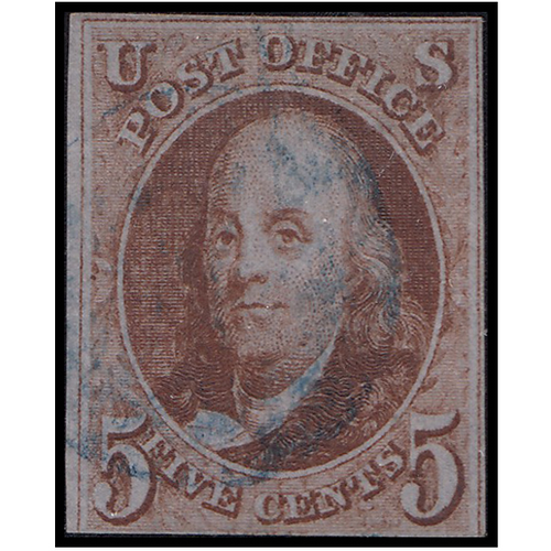 1847 5c Franklin Orange Brown Fine Used Blue Cancel