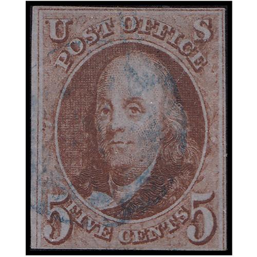 1847 5c Franklin Orange Brown Fine Used Blue Cancel