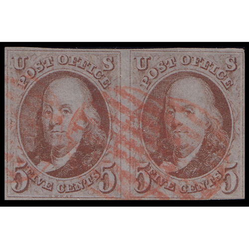 1847 5c Franklin VF Used PAIR Red Cancel