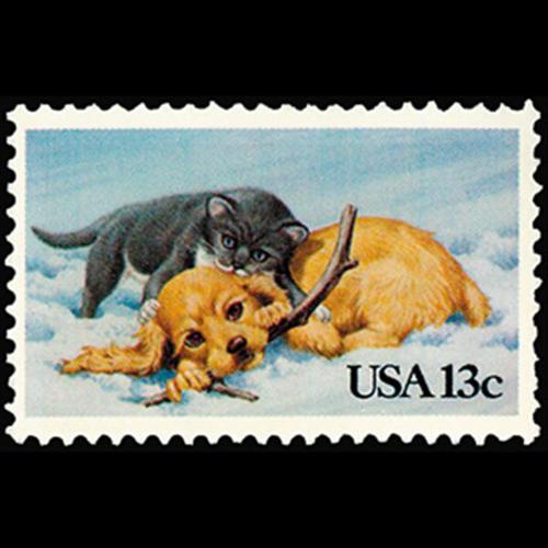 1982 20c Kitten & Puppy Christmas Mint Single