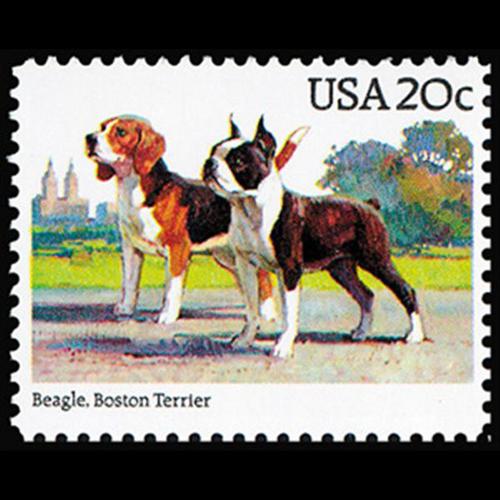 1984 20c Beagle, Boston Terrier Mint Single