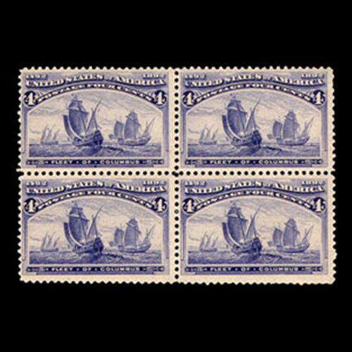 1893 4c Columbian, Block of 4, Mint