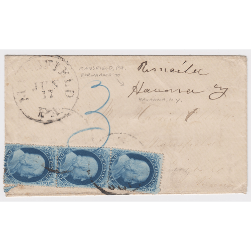 1857 1¢ Franklin, Blue, Type IV, Used on Cover.