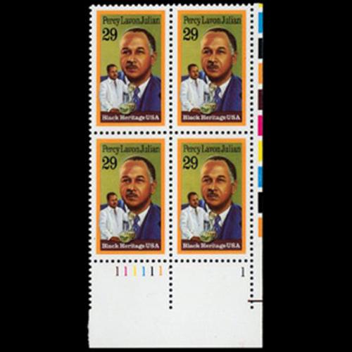 1993 29c Percy Lavon Julian Plate Block