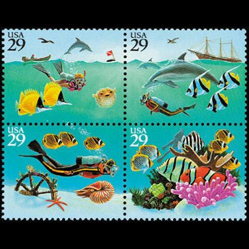 1994 29c Wonders of the Sea Mint Block