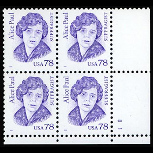 1995 78c Alice Paul Plate Block