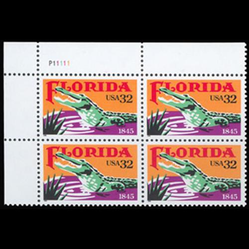 1995 32c Florida Statehood Plate Block