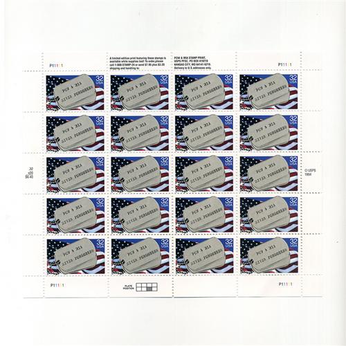 1995 POW and MIA Mint Sheet