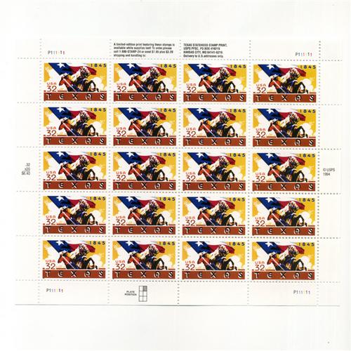 1995 Texas Statehood Mint Sheet