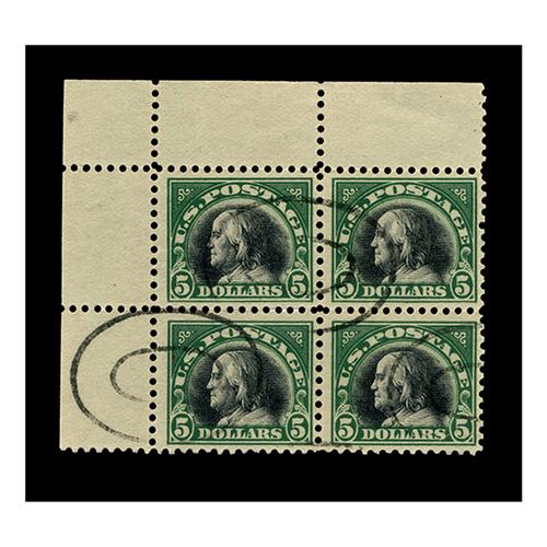 1920 $5 Franklin Deep Green & Black, FVF Used, Block of 4