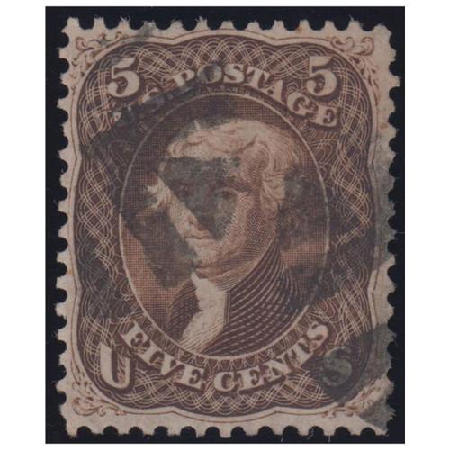1861, 5c Jefferson, Brown, Used