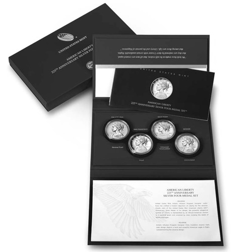 American Liberty 225th Anniversary 99.9% Silver Four-Medal Set, Mint Packaging