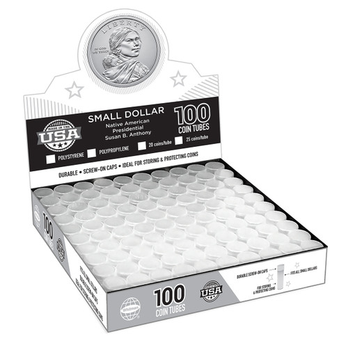 SBA/ Sacagawea/ Presidential Dollar Coin Tubes(100 Count) - 25 per tube