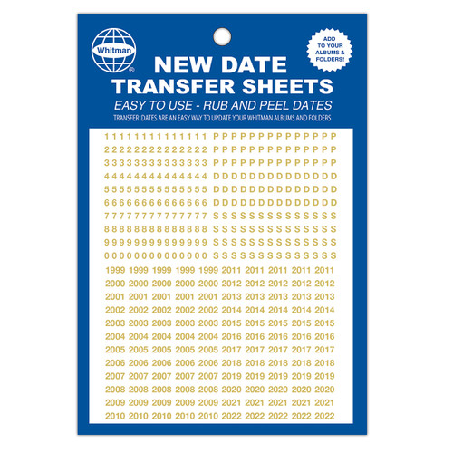 Date Transfer Sheet for Whitman Album - Gold
