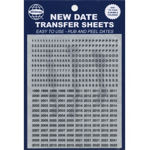 Date Transfer Sheet for Whitman Folders/Albums - Black
