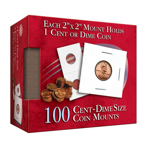 Cent - Dime 2X2 Coin Mounts Cube, 100 Count