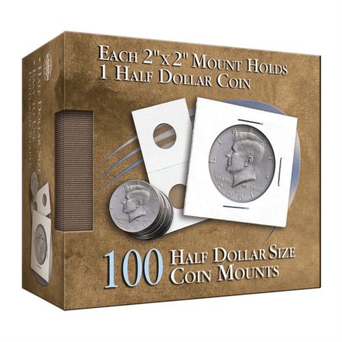 Half Dollar 2X2 Coin Mounts Cube, 100 Count