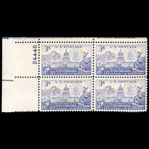 1951 3c Colorado Statehood Plate Block