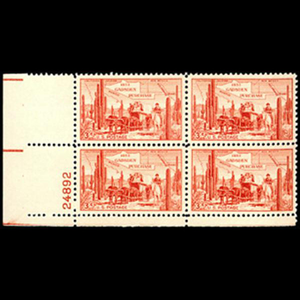1953 3c Gadsden Purchase Plate Block