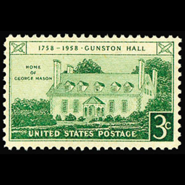 1958 3c Gunston Hall Mint Single