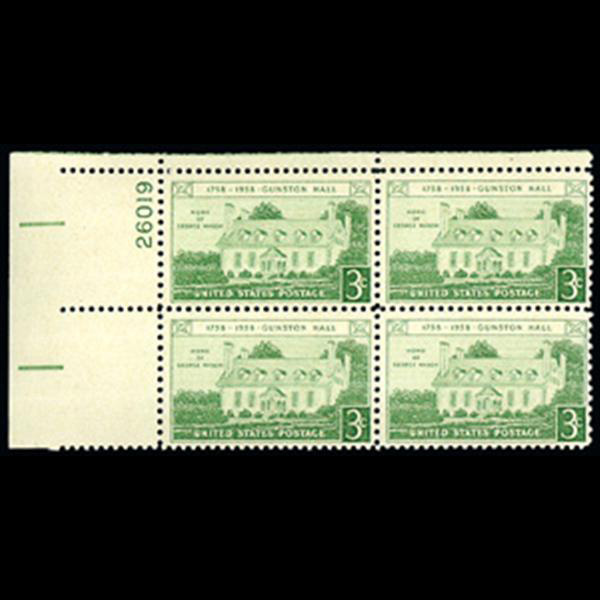 1958 3c Gunston Hall Plate Block