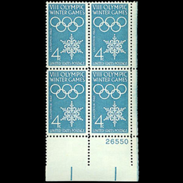 1960 4c Winter Olympics Plate Block