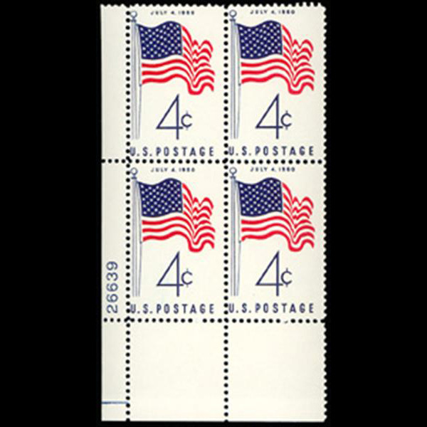 1960 4c 50 Star Flag Plate Block