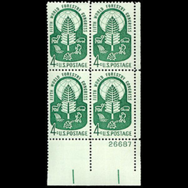 1960 4c World Forestry Congress Plate Block