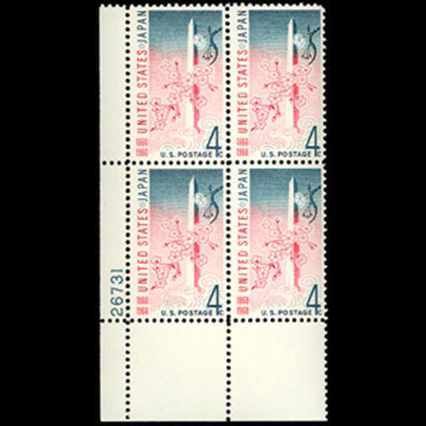 1960 4c U.S. Japan Treaty Plate Block