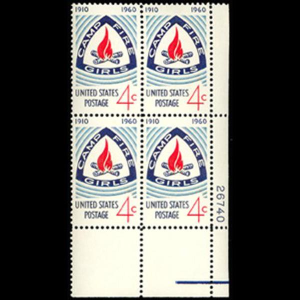 1960 4c Camp Fire Girls Plate Block