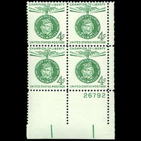1960 4c Giuseppe Garibaldi Plate Block